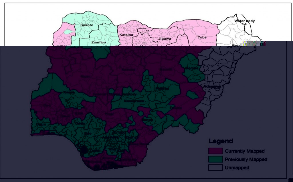 Map of Nigeria displaying study area