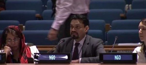 Dr. Neeraj Mistry speaks at the UN ECOSOC High-Level Political Forum on July 9, 2015.